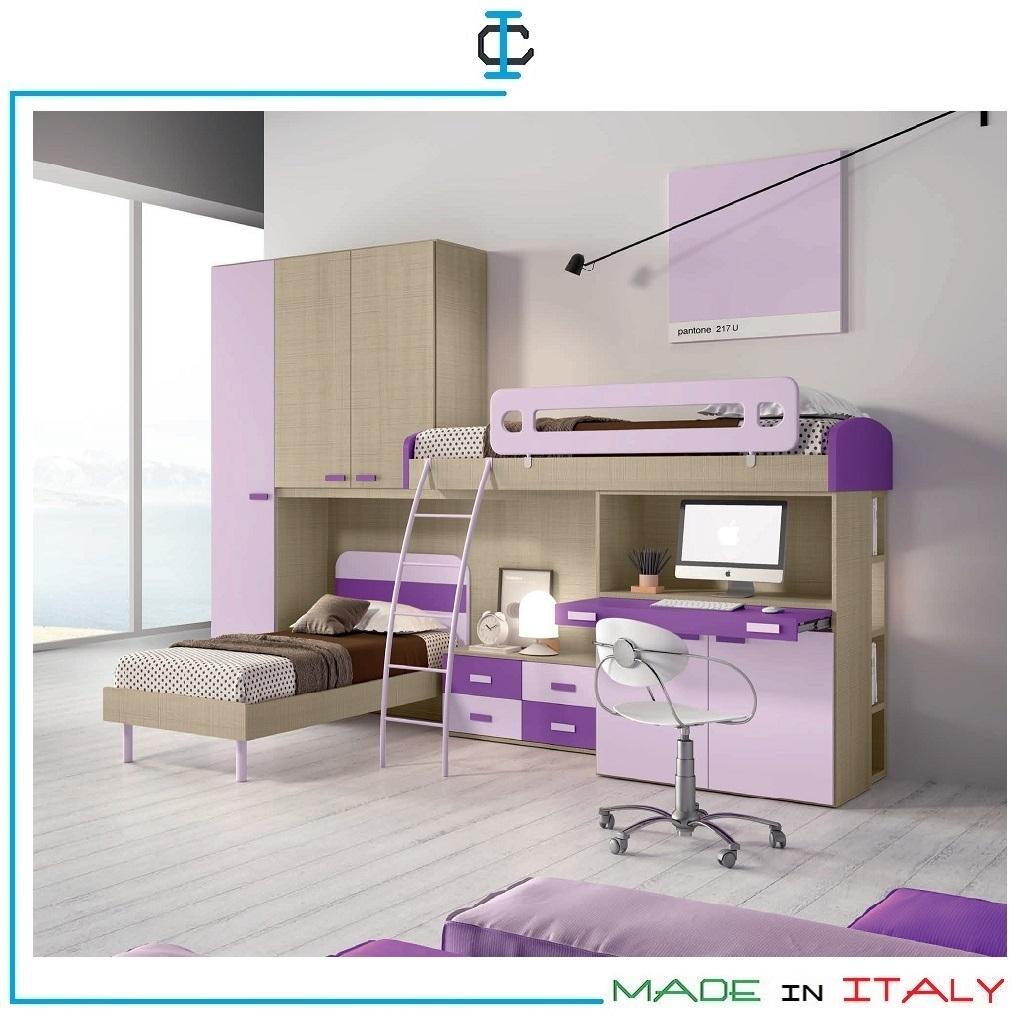 Cameretta Soppalco Con Scrittoio Art Vag4044
