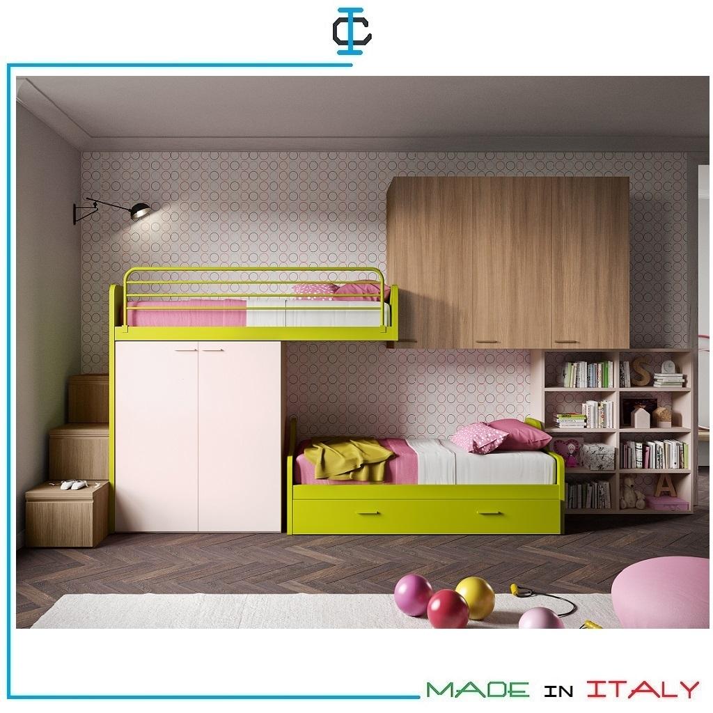 Cameretta Con Soppalco Tre Letti.Cameretta Soppalco 3 Letti Art Sitg22