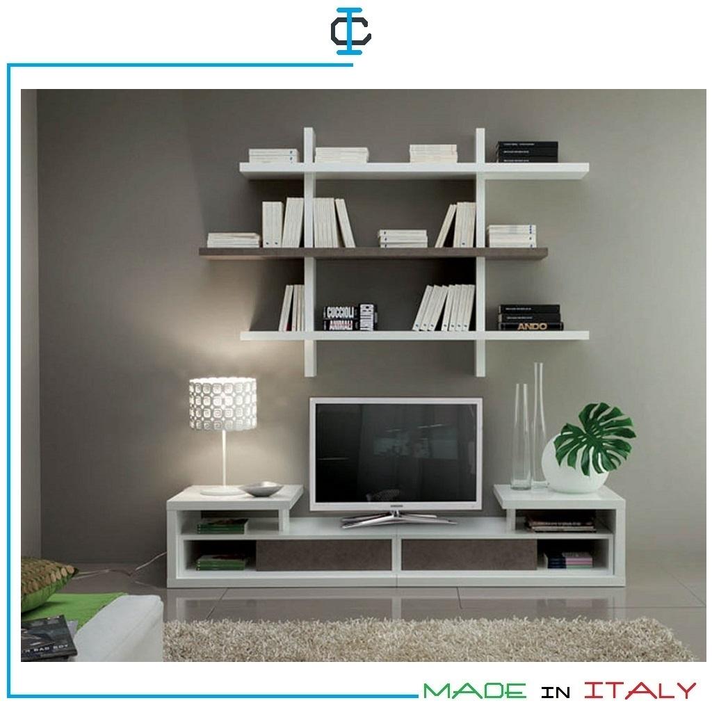Libreria Porta Tv Sospesa.Porta Tv Con Libreria Sospesa Art Lpvt547