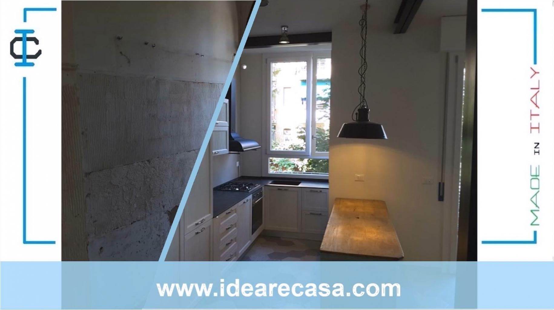 Porta Scorrevole Su Muro Portante ristrutturazione di cucina e soggiorno con cerchiatura su